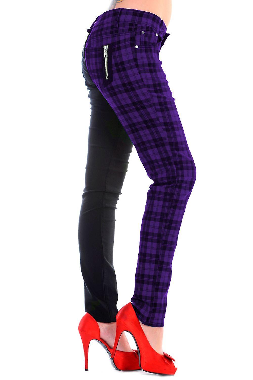 Banned Tartan Split Leg Skinny Jeans