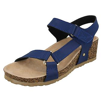 Ladies Down To Earth Mid Wedge Velcro Ankle Strap Sandals F10716