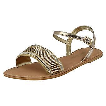 Damer Spot på læder samling Beaded sandaler F0896