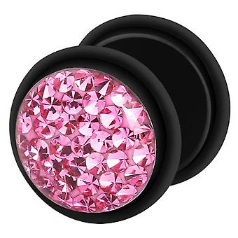 Fake Cheater Ear Plug Black, Earring, Body Jewellery, with Multi Crystal Pink