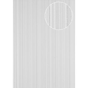 PRI-5047-1 non-woven wallpaper smooth design sparkling stripes wallpaper Atlas perl white silver white silk grey 5.33 m2
