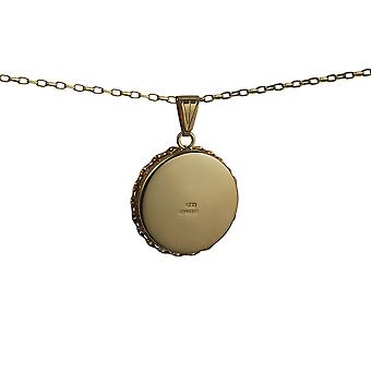 9ct Gold 25mm plain twisted wire edge flat round Locket with a belcher Chain 24 inches