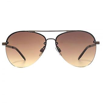 French Connection Half Rim Pilot Sunglasses In Matte Brown