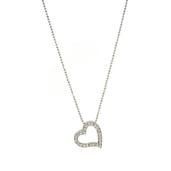 W.A.T Sparkling Crystal Open Heart  Necklace