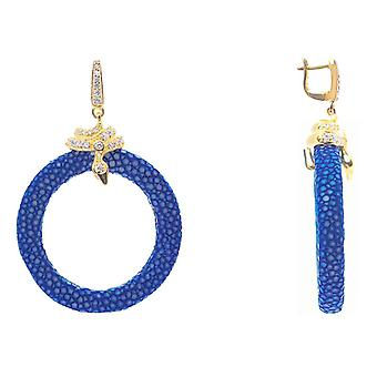 925 Sterling Silver Hoop Drop Earring Stingray Gold Blue Royal Post Hinge