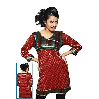 Red colored viscose Kurti with brocade neckline and lace work.