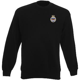 HMS Walney bordado logotipo - camisola oficial da marinha real dos pesos-pesados