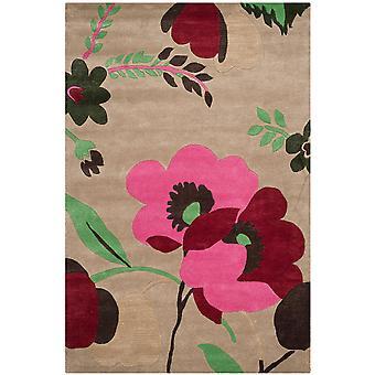 Kate Sand & røde blomster uld tæppe - Safavieh