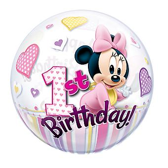 Qualatex 22 Inch Minnie Mouse 1st Birthday Single Bubble Balloon