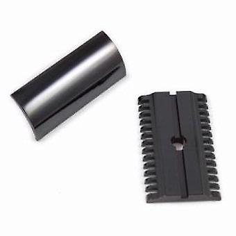 iKon B1 Deluxe Open Comb Black Safety Razor Head In Stainless Steel