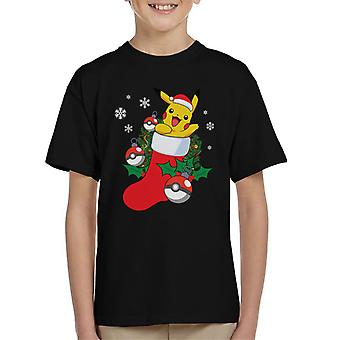 Pokemon Pikachu In A Christmas Stocking Kid's T-Shirt