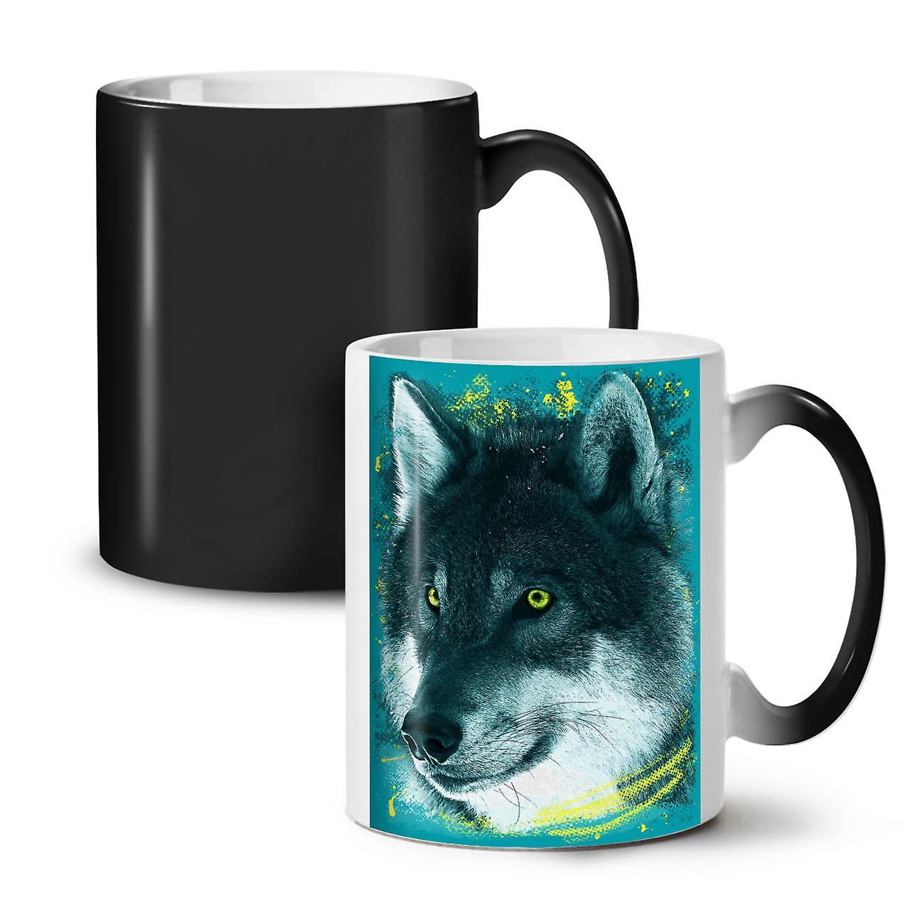 Café Nouvelle Noir Coloré 11 Céramique OzWellcoda Face Tasse Couleur Loup Animal Thé Changeant qR543ALj