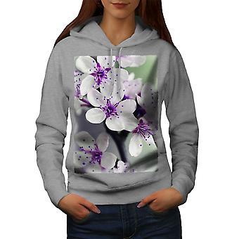 Blanca flor foto naturaleza mujeres GreyHoodie | Wellcoda