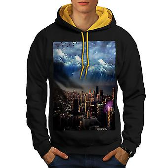 Storm Sky Photo City Men Black (Gold Hood)Contrast Hoodie | Wellcoda