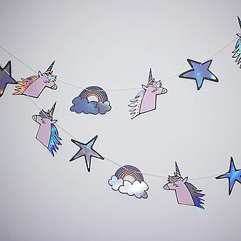 Unicorn Rainbow Stars Party Bunting Garland 3m Iridescent