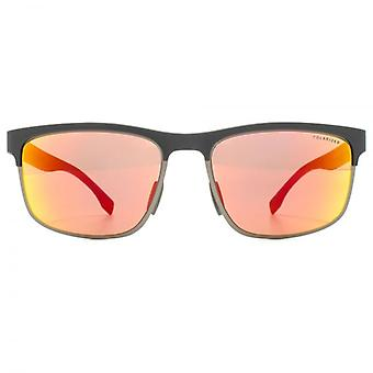 Hugo Boss Active Half Rim Sunglasses In Grey Carbon Red Polarised