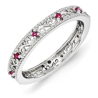 3mm Sterling Silver Polished Prong set Rhodium-plated Stackable Expressions Created Ruby Ring - Ring Size: 5 to 10