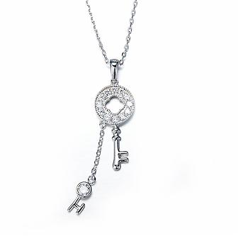 Key pendant adorned with White Swarovski Crystals and Rhodium Plate
