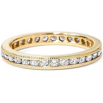 Canal ct 1 conjunto diamante eternidad anillo 14K oro amarillo