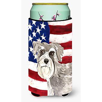 Patriotic USA Schnauzer #1 Tall Boy Beverage Insulator Hugger