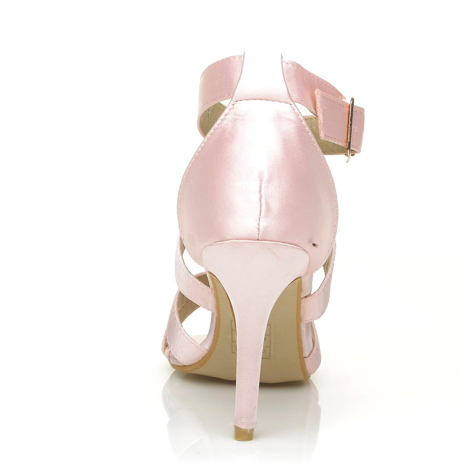 Bridal Baby Sandals High Satin Elegant Strappy SOPHIE Heel Pink Tg4XdWqA
