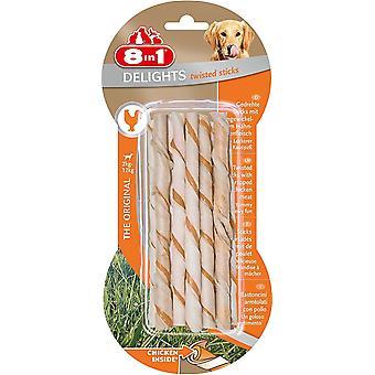 8in1 Delights Dog Treats Twist Chicken Sticks, 10-Piece
