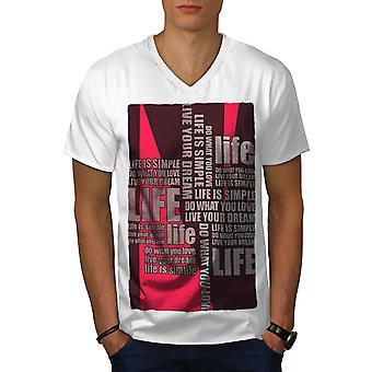 Life Saying Dream Men WhiteV-Neck T-shirt   Wellcoda