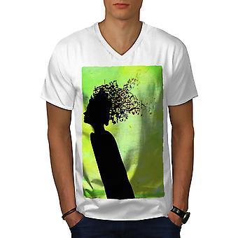 Imagination Art Music Men WhiteV-Neck T-shirt   Wellcoda
