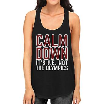It's Pe Not The Olympics Black Graphic Workout Tank Top For Women