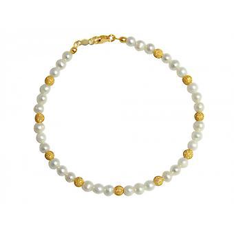 Parel armband kralen armband - Pearl - White - verguld - 19 cm