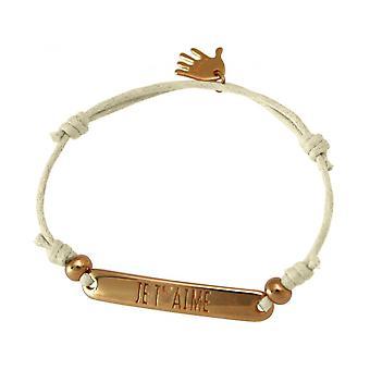 Women - bracelet - engraved - PER T ´ AIMÉ - rose gold plated - nude