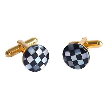 Black Onyx and mother of Pearl gold plated cufflinks ROSS