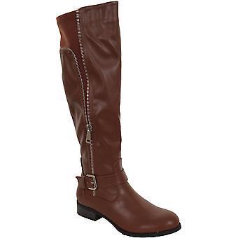Ladies Knee High Faux Leather Buckle Zipper Detail Elastic Low Heel Boots