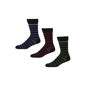 Ben Sherman Men's 3 Pack Everyday Calf Multicloured Socks Black Red Castle Lucas