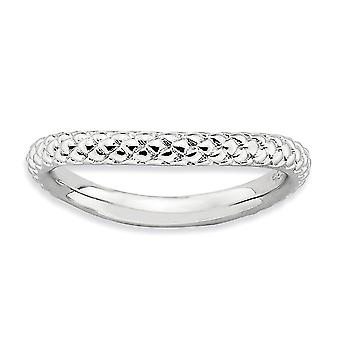 2,25 mm Sterling zilveren getextureerde gedessineerde Rhodium-plated stapelbare expressies gepolijst Rhodium-plaat Wave Ring - Ring S