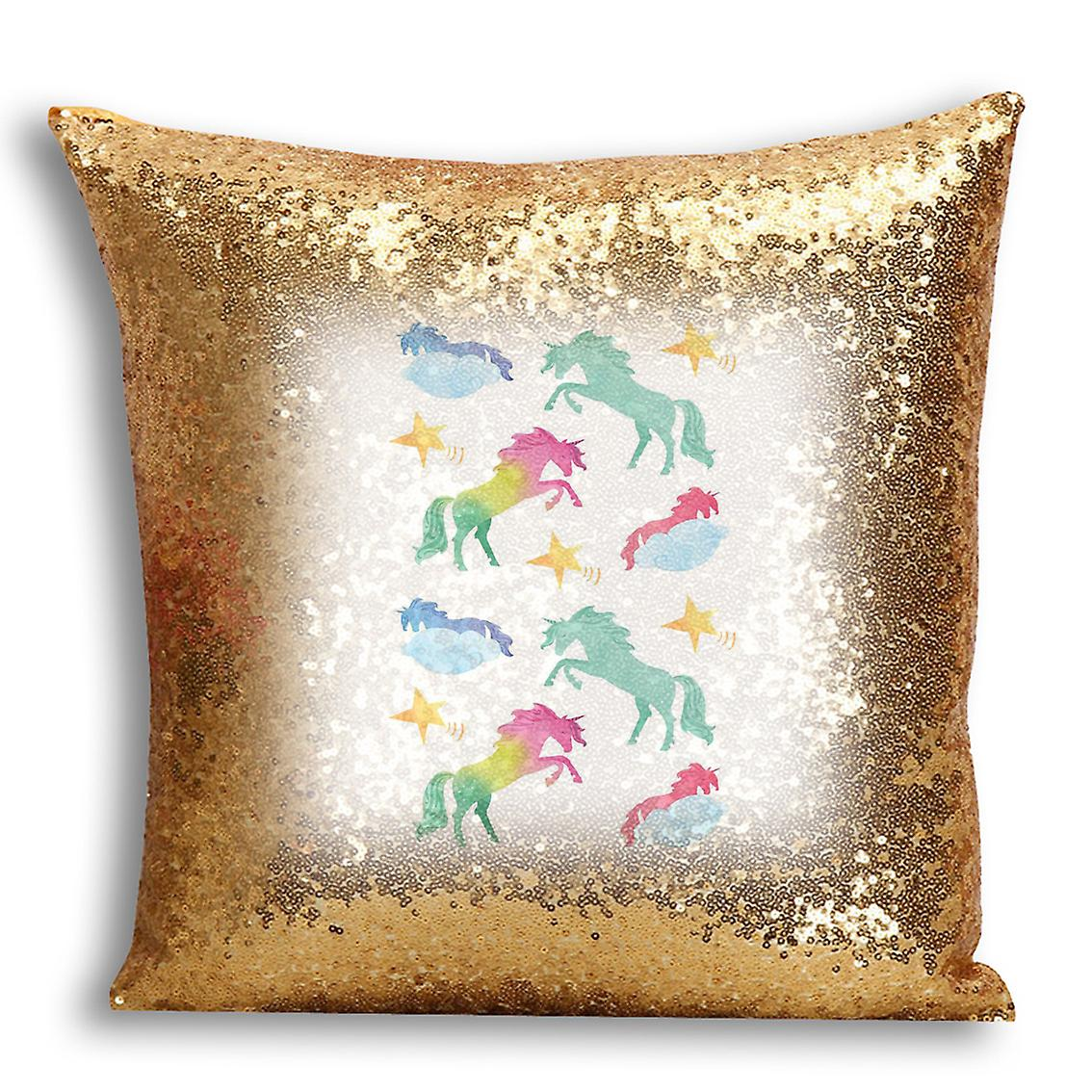 Decor 7 Gold CushionPillow With Printed Home tronixsUnicorn I For Cover Inserted Design Sequin NO0w8vmn