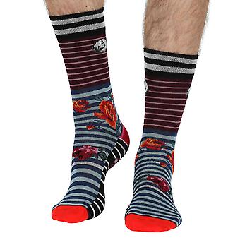 Roses men's unique crazy cotton crew socks in blue | By Dub & Drino