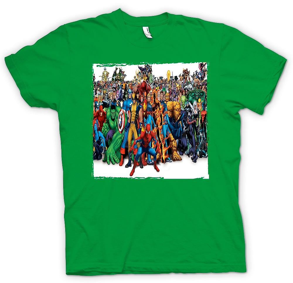 Heren T-shirt - Marvel Comic Hero Group - portret