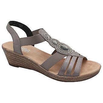 Rieker Women's Diamante Detail Wedge Sandal