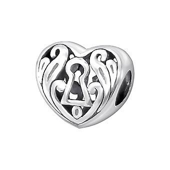 Heart - 925 Sterling Silver Plain Beads - W11113X