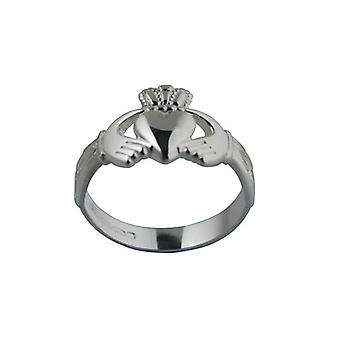 Silver 13mm Trinity knot shoulder ladies or Boys Claddagh Ring Size T