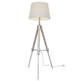 Kiom retro lamp floor lamp Elvy white wooden tripod 10856