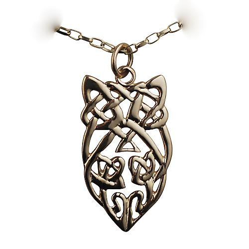 9ct Gold 26x16mm Celtic knot design Pendant with a belcher Chain 16 inches Only Suitable for Children