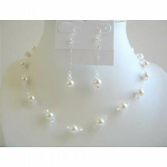 White Pearls & Clear Crystals Bridal Bridesmaid Wedding Jewelry Set