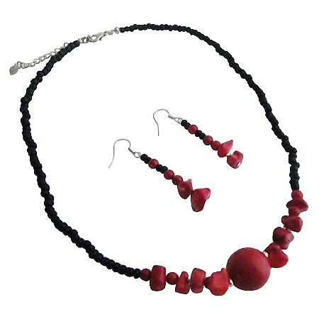Coral Nugget Necklace Set Black Beaded Coral Nugget Choker Sets