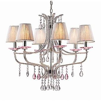 Ideal Lux - Violette Chrome And Glass Six Light Chandelier IDL015439