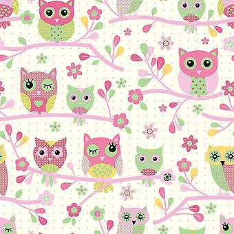 Owl Tree Design feature in Pink and Green on Cream Wallpaper Bedroom Child