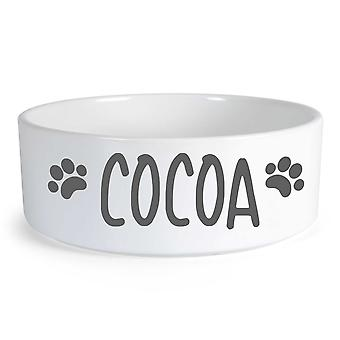 Peronalised Dog Grey Text Small Ceramic Dog Bowl