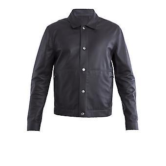 Corneliani Brown Leather Outerwear Jacket
