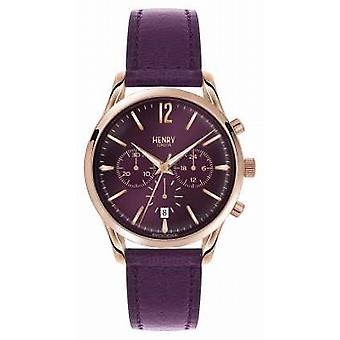 Henry London Hampstead lilla læderrem Chronograph HL39-CS-0092 Watch